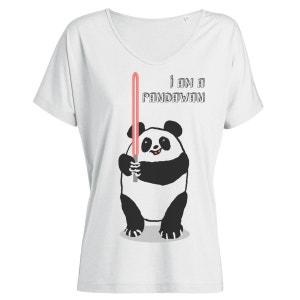 T-shirt Imprimé Bio Ample Tencel Blanc Col V Femme - I'm a Pandawan ARTECITA