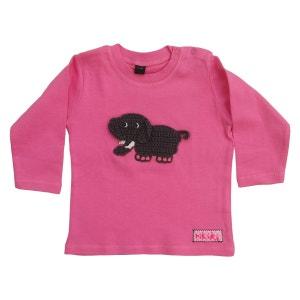 t-shirt bébé customisé avec éléphant brodé coton rose manche longue RIKIKI KIDS