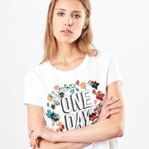 Tee shirt col rond imprimé floral, manches courtes S OLIVER