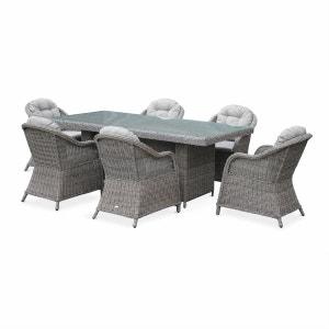 Table de jardin 6 places en résine tressée arrondie - Lecco Gris - Coussins beige - 6 fauteuils, 1 grande table ALICE S GARDEN
