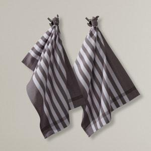 Paños a rayas tejidas y tintadas (lote de 2) La Redoute Interieurs