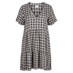 Short-Sleeved Checked Midi Flared  Dress ZIZZI