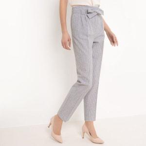 Pantalon cigarette rayé, taille haute, lin R essentiel