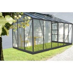 Serre de jardin grise SOLARIUM 7,22m² adossable avec base CHALET ET JARDIN