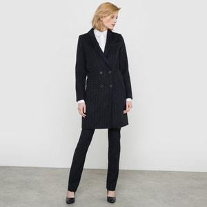 Abrigo raya diplomática, paño de lana La Redoute Collections