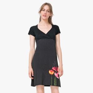 Vestido de manga corta con escote y motivo de flores DESIGUAL