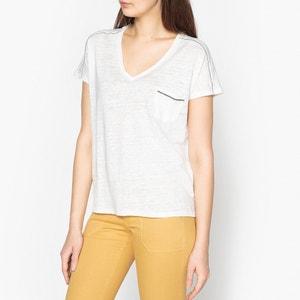 T-shirt con collo a V in lino IKKS
