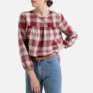 Blusa de cuadros, cuello redondo y manga larga