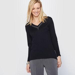 Jersey con detalle bisutería, 10% lana ANNE WEYBURN