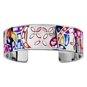 Bracelet Motif Fleur Couleur Pastel Nacre Diamètre 59 mm Intérieur Acier Inoxydable SO CHIC BIJOUX