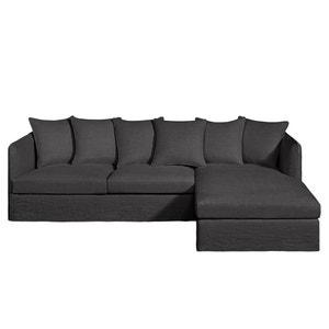 Canapé d'angle fixe Neo Chiquito, lin épais AM.PM.