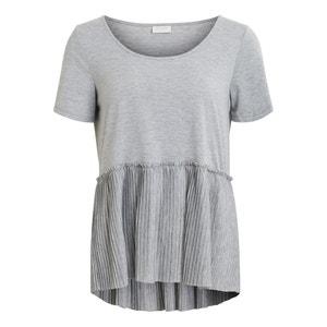 T-Shirt, runder Ausschnitt, Plisseefalten VILA
