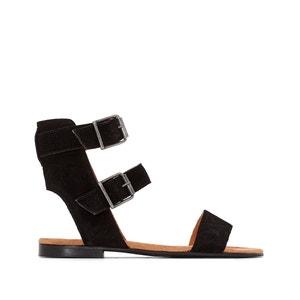 Sandálias rasas em pele, presilha dupla R studio