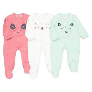 Set van 3 pyjama's in fluweel, 0 mnd-3 jaar