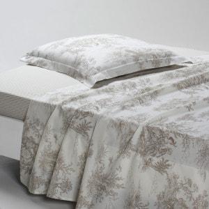 BERGÈRE Cotton Flat Sheet in Toile de Jouy Print La Redoute Interieurs