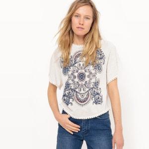 Crew Neck T-Shirt with Front Motif R studio