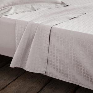 Checked Cotton Satin Flat Sheet La Redoute Interieurs