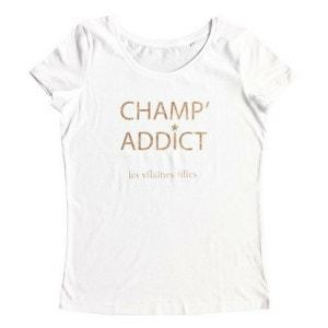 T-shirt manches courtes coton bio champ addict à paillettes VILAINES FILLES