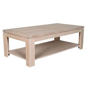 Table basse rectangulaire BOSTON - bois chêne blanchi massif HELLIN, DEPUIS 1862