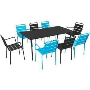 Salon de jardin en métal 1 table et 8 fauteuils OVIALA