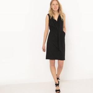 Zwarte jurk met fronsjes vooraan La Redoute Collections