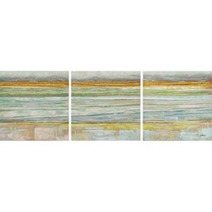 Tableau MARINE ABSTRAIT Tryptique tons beiges, jaunes, verts, bleus 50x150cm PIER IMPORT