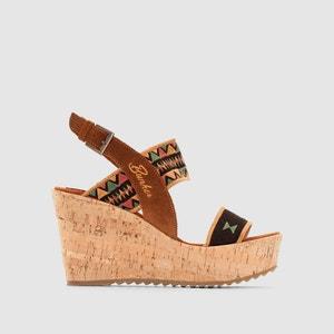 Sandales compensées, cuir et textile BUNKER