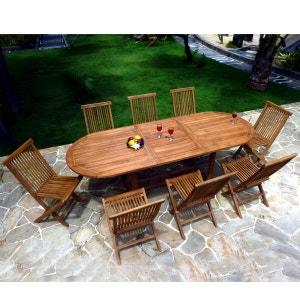 salon de jardin en teck huilé pour 8-10 personnes Table ovale WOOD EN STOCK