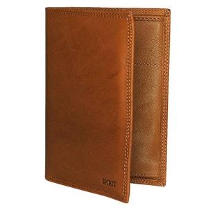 Portefeuille en cuir véritable marron CHAPEAU-TENDANCE