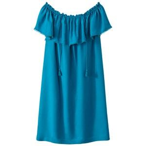 Schulterloses Kleid mit Volants SUNCOO