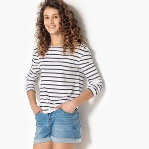 T-shirt marinière broderie col 10-16 ans La Redoute Collections