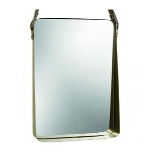 Miroir Rectangulaire Suspendu en Métal Doré - Hauteur 55cm WADIGA