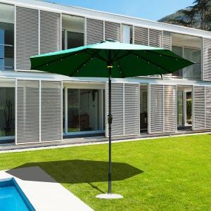 Parasol octogonal inclinable solaire fonction LED et haut parleur Bluetooth polyester imperméabilisé vert - OUTSUNNY OUTSUNNY