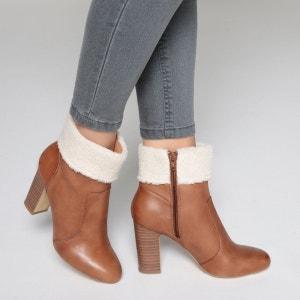 Boots cuir col fourré La Redoute Collections