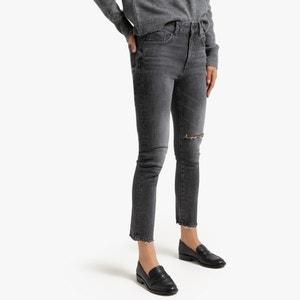 Verkorte slim jeans destroy