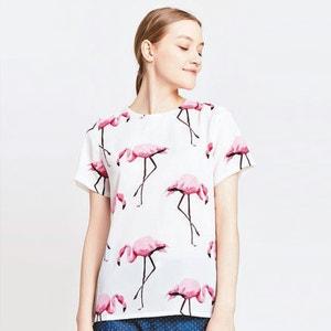Pink Flamingo Print Blouse MIGLE+ME