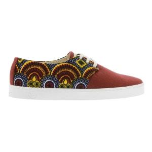 Basket à imprimé wax et toile rouge PANAFRICA