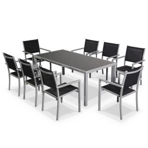 Salon de jardin Capua en aluminium table 180cm, 8 fauteuils en textylène noir et ALICE S GARDEN