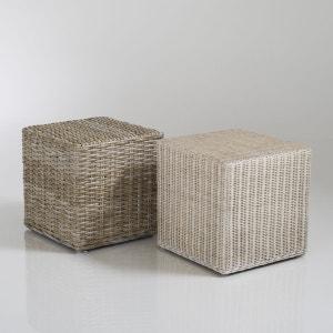 Petit pouf cubique en kubu ou rotin, Inqaluit La Redoute Interieurs