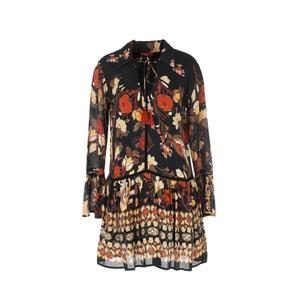 Krótka wzorzysta sukienka z długim rękawem RENE DERHY