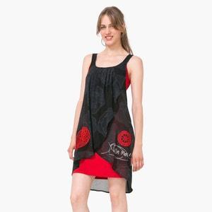 Vestido de tirantes con estampado de rosetón y abertura delante DESIGUAL