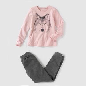 Pyjama in 2 stoffen met wolfprint La Redoute Collections
