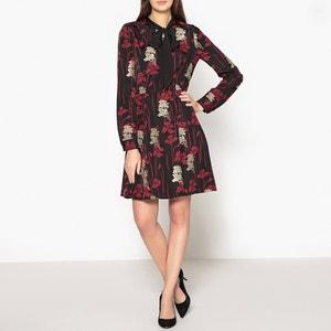 Bedrukte jurk met lavallière kraag en borduursels THE KOOPLES