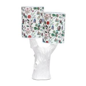 YOU & ME - Lampe à poser Arbre Céramique Blanc et abat-jour Tissu Automne H48cm DOMESTIC