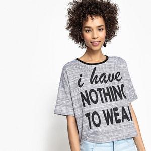 T-shirt com mensagem, gola redonda a contrastar La Redoute Collections