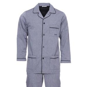 Pyjama long   : Veste boutonnée et pantalon à rayures  s coton MARINER