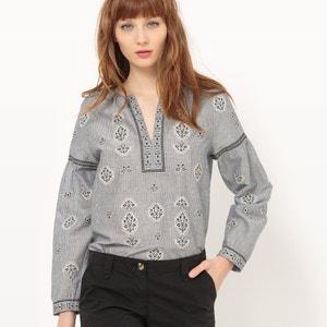 Blusa de manga larga a rayas y bordada, 100% algodón SEE U SOON