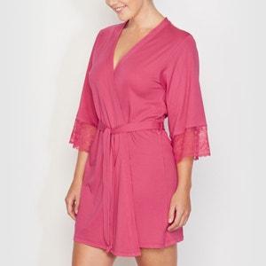 Short Kimono Style Cotton Blend Negligée CASTALUNA