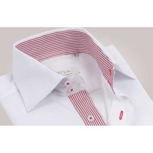 Chemise homme blanche intérieur à rayures rouges poignets napolitains - Chemise CINTRÉE OZOA CHEMISES