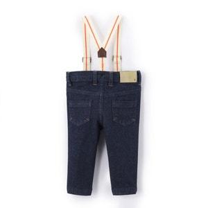 Jeans slim com suspensórios, 1 mês-3 anos La Redoute Collections